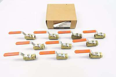 Box Of 10 New Grinnell 16M50-Cg-L 1/4 In Npt Brass Threaded Ball Valve D559074