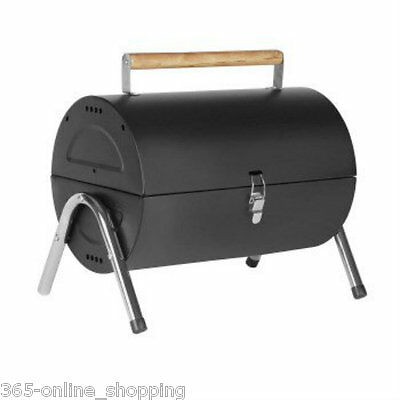 Portable Barrel Black Steel Table Top BBQ Garden Camping Picnic Charcoal Grill