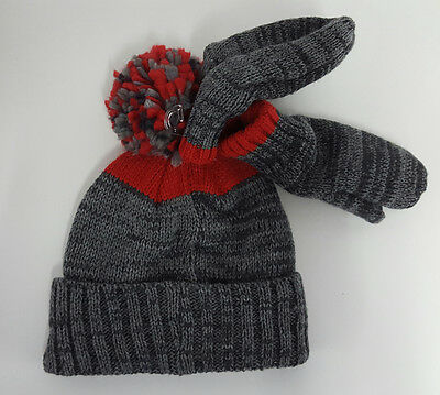 Kids  Carter's  Winter Hat and Gloves  Red & Gray  Adventure Gear  2t - 4t