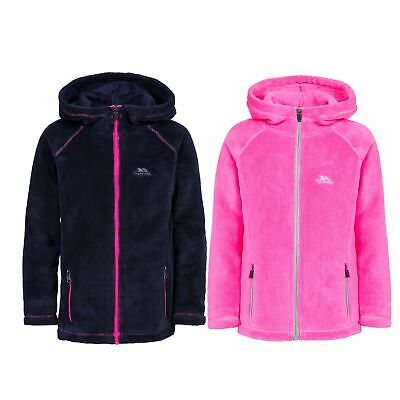 Trespass Lysle Girls Warm Plain Fleece Jumper with Hood and Pockets