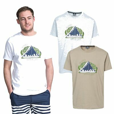 Trespass Camp Mens Printed Casual T-Shirt Short Sleeve Cotton Top for Summer
