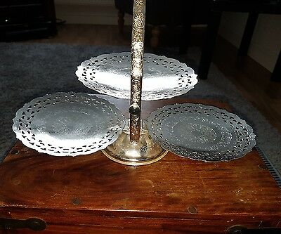 vintage queen anne silver plated cake stand