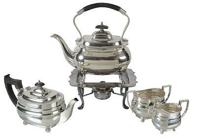 1937 sterling silver three piece oblong tea service by William Hutton & Sons