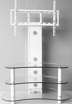 """Corner TV Stand With Bracket 32""""- 70"""" White Curved Flat Glass Cantilever TV unit"""