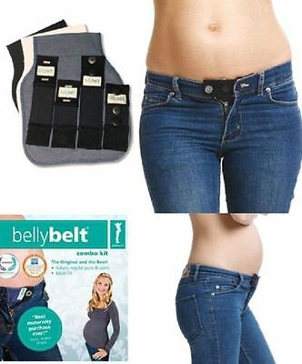 Maternity Belly Belt 7 Pc Combo Kit Cotton Blk Pregnancy Extender - Pant & Jean