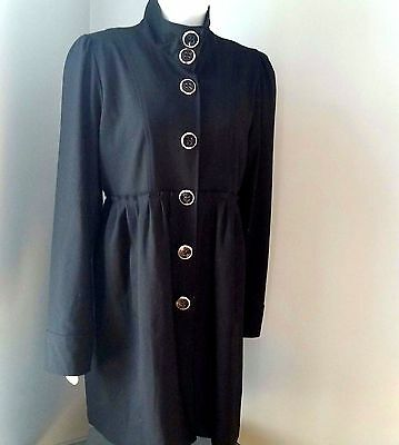 Long Black Gothic Steampunk Jacket Military High Collar Flounce Coat LARGE