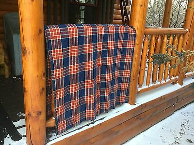 Vintage blanket Homespun wool linen hemp cotton plaid handwoven RED/BLUE/WH