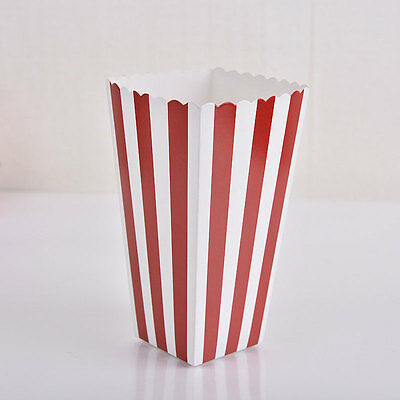 12pcs Popcorn Striped Paper Boxes Container Box Favour Bags Movie Birthday
