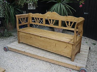 Superb! Old Antique Victorian Pine Hungarian/monks Box Bench/settle/pew/storage