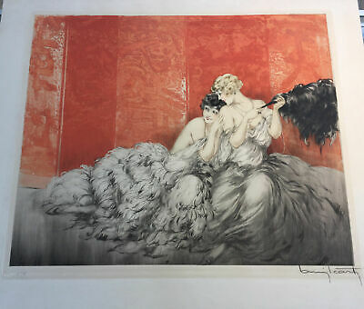 """1928 Louis Icart """"Mockery"""" French Etching Aquatint Hand Coloring on Wove Paper"""