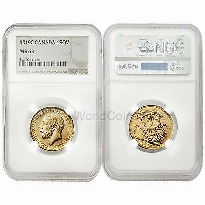 Canada 1919-C Sovereign Gold NGC MS63