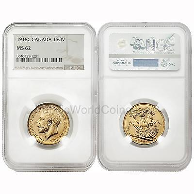 Canada 1918-C Sovereign Gold NGC MS62