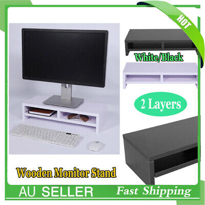 2 Layers Wooden Monitor Stand LCD Computer Monitor Riser Desktop Display Bracket