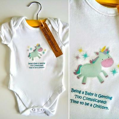 NEW UNICORN Baby Boys Girls Unisex Bodysuit Clothes 0-3 Months Next Day P&P GIFT