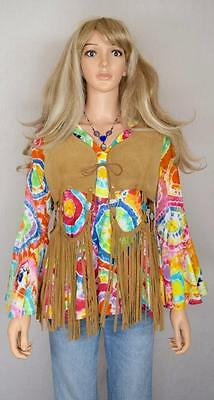 Vtg 1960's 70s MOD Go-Go Ring Cutout Fringed Suede Leather HiPPiE Vest WooDsToCk