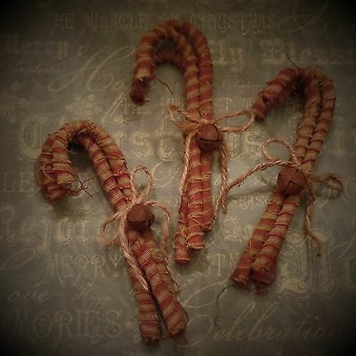 Homespun Candy Canes~Jingle Bell~Twine Bow~