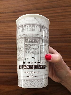 First Starbucks Pike Place Limited Ceramic Tumbler Traveler Sketch