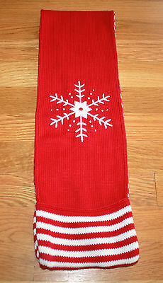 HANNA ANDERSSON Little Girls Scarf Red Snowflake Cotton Red/White Hand Pockets