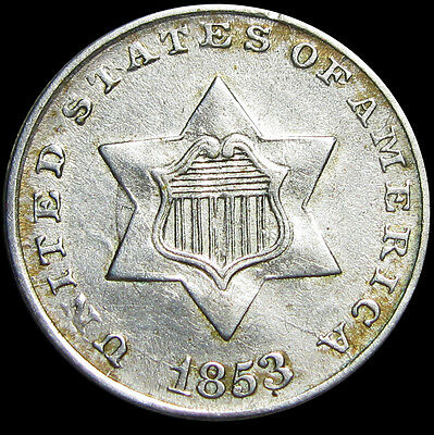 1853 Silver Three Cent Piece 3cp  -- STUNNING TYPE Coin -- #R861