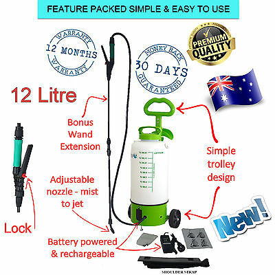 Rechargeable Weed Sprayer 12L Trolley Battery Farm Garden Pest Control Electric