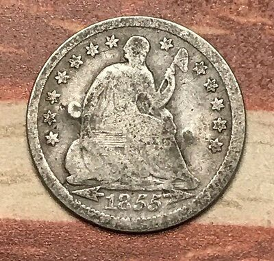 1855 5C Seated Liberty Half Dime 90% Silver Vintage US Coin #JA17