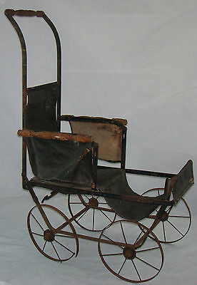 Antique Baby Doll Upright Carriage Pram Stroller Buggy FA Whitney Folding