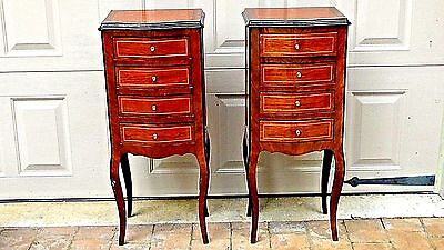 Pair French Louis Xv Style Walnut Inlaid Small Lasquered Chest Night Stands