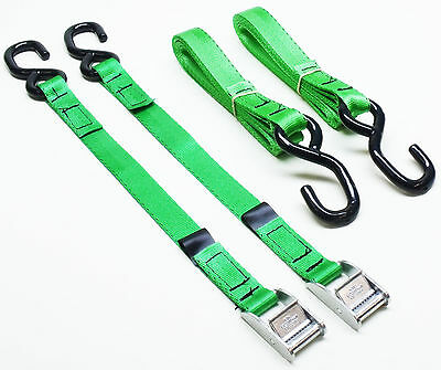 2-pack of 3.0m TOUGH S-HOOK Cam Buckle Straps Green - Cargo Van Trailer Lashings