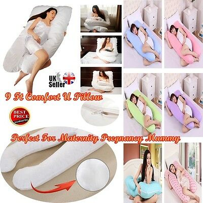 Comfort U Pillow Body Back Support Maternity Pregnancy Nursing Extra Fill 9 Ft