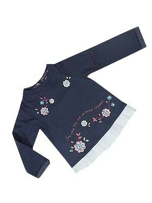 "Girls Baby Kids ""Ex F&F"" Long Sleeve Sweat Top Floral Design And Detailed Hem"