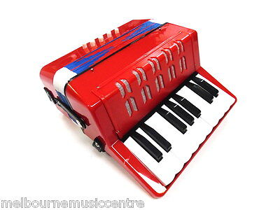 JUNIOR BUTTON/PIANO ACCORDION 7 Treble & 2 Bass Buttons *Red Finish* NEW!