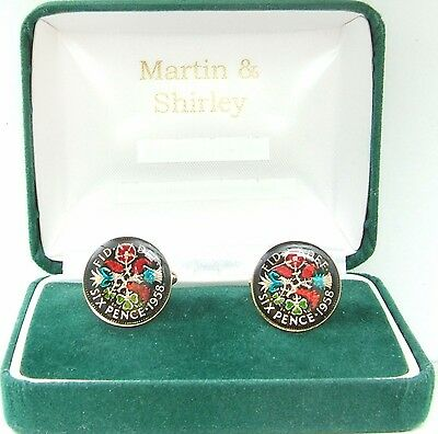 1958 Six pence cufflinks  real coins in Black & Colours