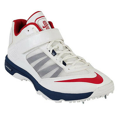 *NEW* NIKE LUNAR ACCELERATE CRICKET SHOES / SPIKES / BOWLING BOOTS, White/Blue