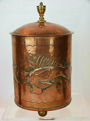 A Very Fine Large Arts and Crafts Copper Tea Caddy By Herbert Dyer/ Newlyn.
