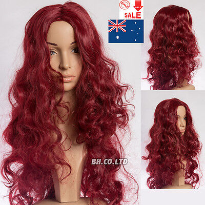 Womens Long Curly Wavy Wine Red Heat Resistant Synthetic Hair Full Wigs Cosplay