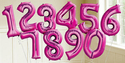 Giant Helium Pink Foil Balloons Birthday 30 18 Party Wedding Number Decor 86cm