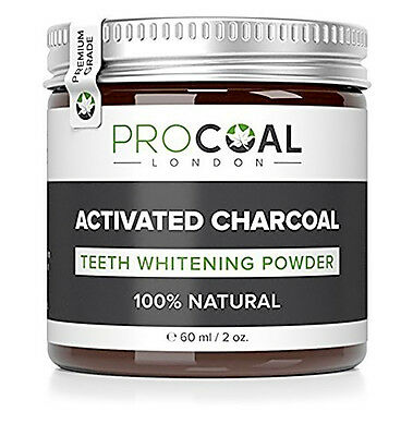 PROCOAL Activated Charcoal Teeth Whitening Powder 60 ml Premium Grade New