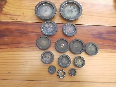 Collection Of 14 Antique Bronze Weights Mostly Victorian 1 Cornish