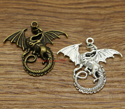 4 Large Dragon Charms Antique Bronze Tone Ornate Design BC1018