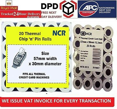 NCR 57 x 30mm Thermal Chip and PIN Cash Register Till Rolls - 20 Rolls Brand New