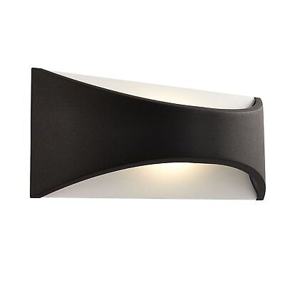Saxby 64744 Vulcan Black 220mm Modern Outdoor IP65 Curved LED Wall Up Down Light