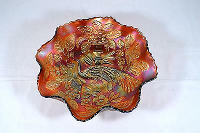 Vintage Fenton Amethyst Carnival Glass Ruffled Bowl - Peacock And Urn