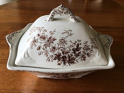English Brown Transferware - SQUARE COVERED BUTTER w/ Insert c. 1889-1895