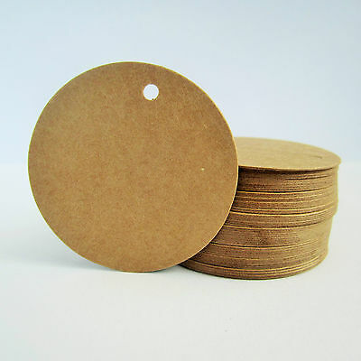 50 large round circle brown kraft parcel tags - 50mm