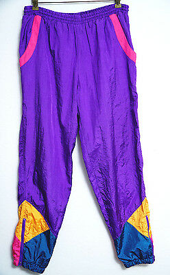 Rock Creek Casuals Windbreaker Pants S VTG 80s Purple Pink Green Yellow Bright