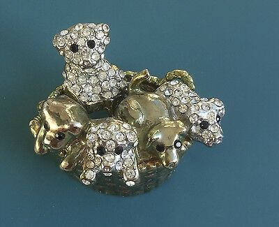 Adorable Vtg.Basket Of Puppies Brooch In Gold Tone Metal With Crystals