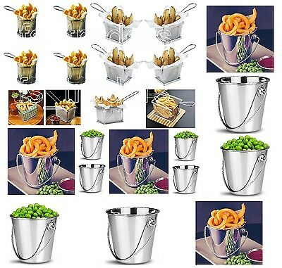 Mini Chip Fry Basket Bucket Serving Food Presentation Dish Fries Stainless Steel