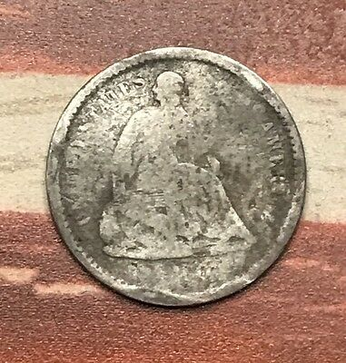 1860? 5C Seated Liberty Half Dime 90% Silver Vintage US Coin #JA20