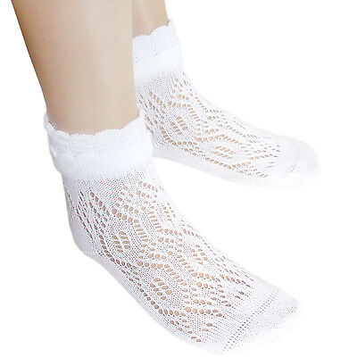 School Girls flat toe seam White Pointelle Ankle Socks Cotton Sensitive feet