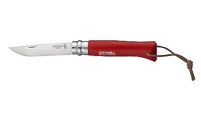 couteau OPINEL 8 INOX ROUGE BAROUDEUR stainless steel knife manche hetre red